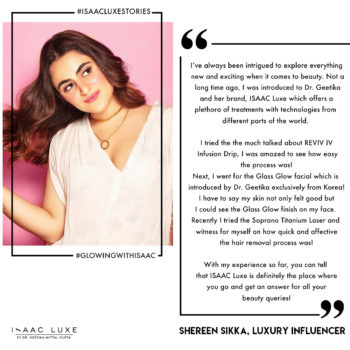 Shereen Sikka on her experience at ISAAC Luxe by Dr. Geetika Mittal Gupta